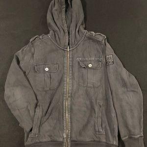 Calvin Klein's Men's Dark Grey Torn Style Hoodie